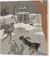 Ice Skating On The Frozen Lake Wood Print by Georges Barbier