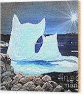 Icebergs At Sunset Wood Print