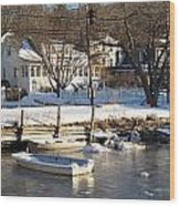 Icebound Harbor Wood Print