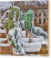 Iced Swann Fountain Wood Print