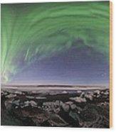 Iceland Aurora Beach Panorama Wood Print