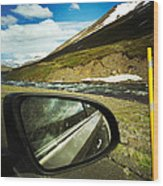 Iceland roadtrip - landscape and rear mirror of car Wood Print
