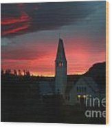 Icelandic Sunset Wood Print