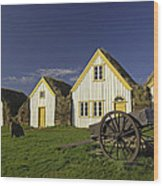 Icelandic Turf Houses Wood Print