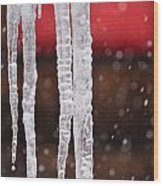 Icicles Wood Print by Denice Breaux