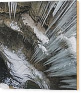 Icicles Hanging In Rocky Gorge In Cold Winter Wood Print