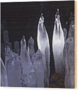 Icicles In A Cave Wood Print
