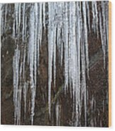 Icicles On A Cliff Wood Print