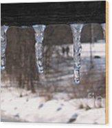 Icicles On The Bridge Wood Print