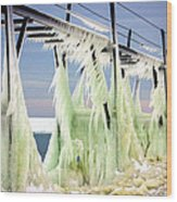 Icicles On The Catwalk Wood Print
