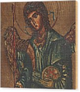 Icon Of Archangel Michael - Painting On The Wood Wood Print