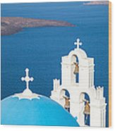 Iconic Blue Cupola Overlooking The Sea Santorini Greece Wood Print by Matteo Colombo