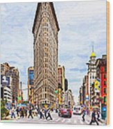 Iconic New York City Flatiron Building Wood Print by Mark E Tisdale