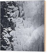 Icy Cliff - Black And White Wood Print