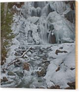Icy Flow Of Water Wood Print