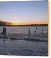 Icy Lake Sunset Wood Print