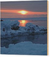 Icy Lake Superior Sunrise Wood Print by Sandra Updyke