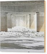 Icy Mississippi Bridge Wood Print