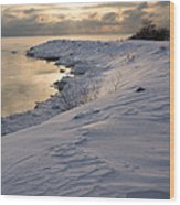 Icy Patterns On The Snow - A Lake Shore Morning Wood Print
