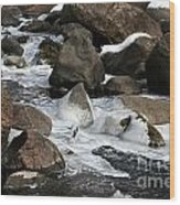 Icy Rapids Wood Print