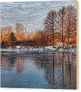 Icy Reflections At Sunrise - Lake Ontario Impressions Wood Print
