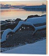 Icy Snowy Winter Sunrise On The Lake Wood Print