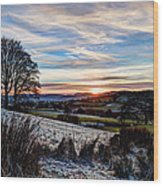 Icy Sunset Wood Print