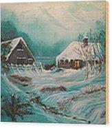 Icy Twilight Wood Print