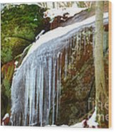 Icy Waterfall  Wood Print