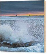 Icy Waves Wood Print