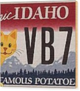Idaho License Plate Wood Print