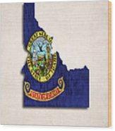 Idaho Map Art With Flag Design Wood Print