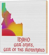 Idaho State Map Collection 2 Wood Print