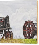 Idle Fordson Tractor On The Hill Wood Print