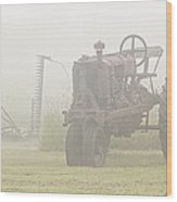 Idle Tractor In Fog Wood Print