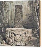 Idol And Altar At Copan Wood Print