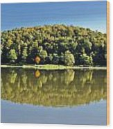 Idyllic Autumn Reflections On Lake Surface Wood Print