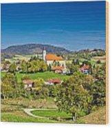 Idyllic Green Nature Of Croatian Village Of Glogovnica Wood Print