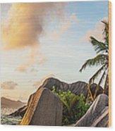 Idyllic Tropical Island Sunset Over Wood Print