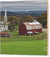 Idyllic Vermont Small Town Wood Print
