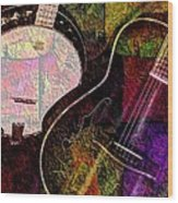 If Not For Color Digital Banjo And Guitar Art By Steven Langston Wood Print by Steven Lebron Langston