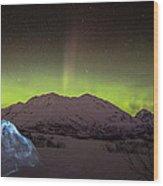 Igloo And Alaska Northern Lights  Wood Print