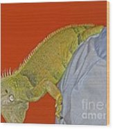 Iguana By The Tail Wood Print