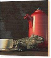 Iguana Coffee Wood Print