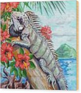 Iguana Hibiscis Wood Print