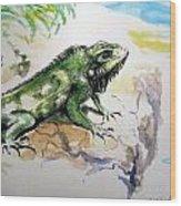 Iguana On Beach Wood Print