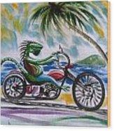 Iguana Rider Wood Print