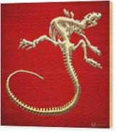 Iguana Skeleton In Gold On Red  Wood Print