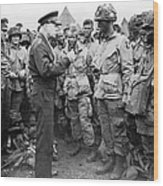 Ike With D-day Paratroopers Wood Print
