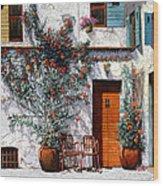 Il Cortile Bianco Wood Print by Guido Borelli